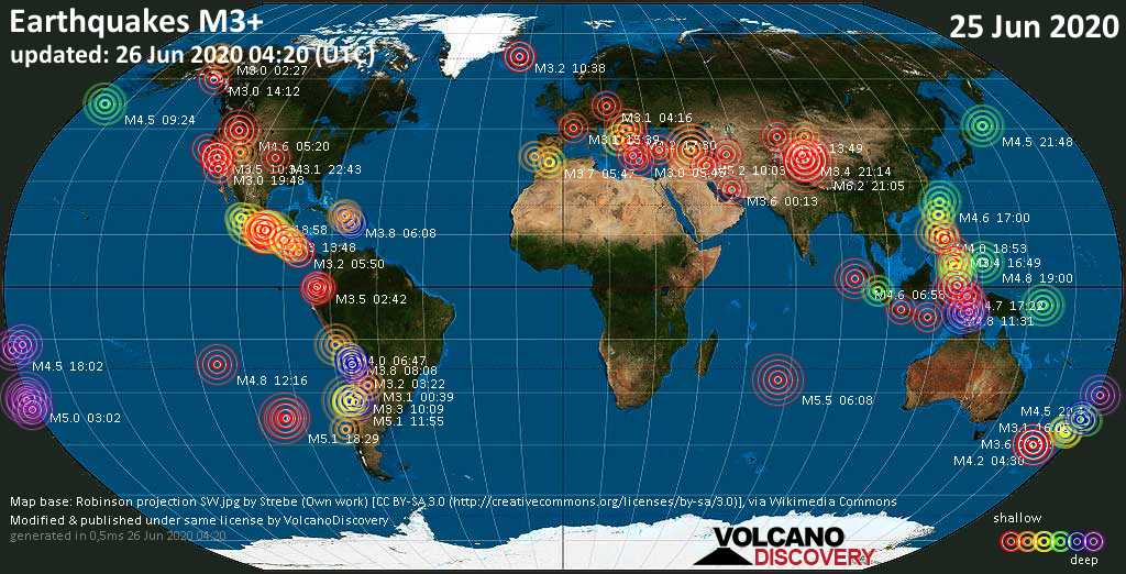 World map showing earthquakes above magnitude 3 during the past 24 hours on 26 Jun 2020