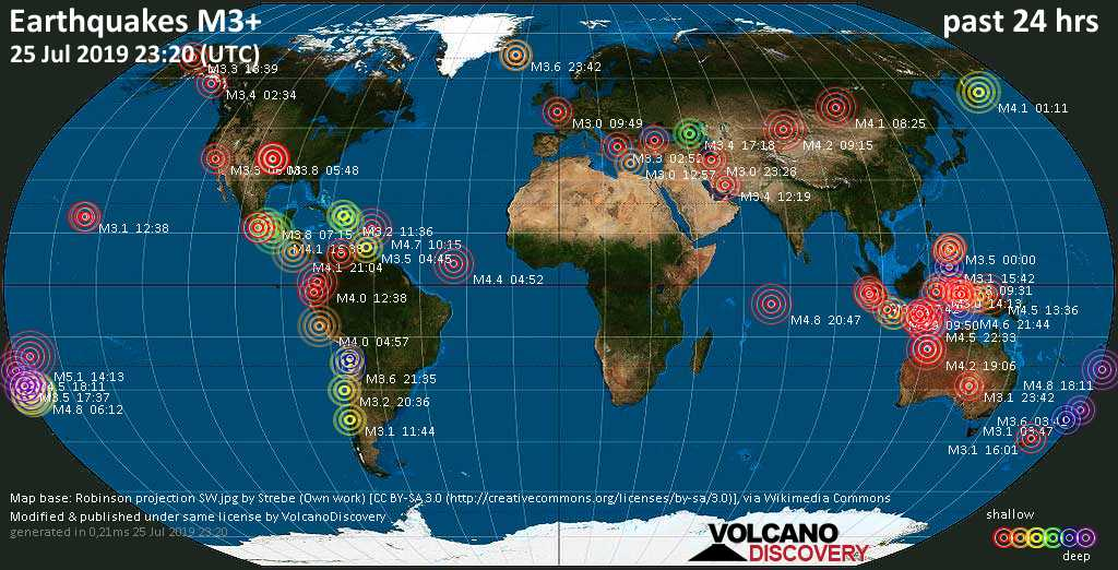 World map showing earthquakes above magnitude 3 during the past 24 hours on 25 Jul 2019