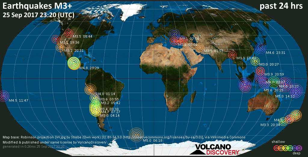 World map showing earthquakes above magnitude 3 during the past 24 hours on 25 Sep 2017