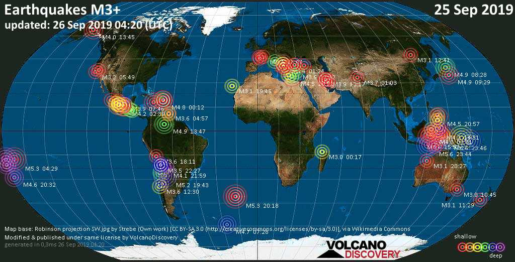 World map showing earthquakes above magnitude 3 during the past 24 hours on 26 Sep 2019