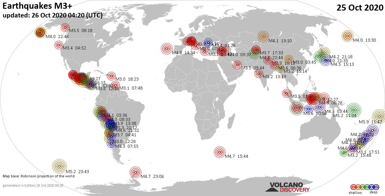 Worldwide earthquakes above magnitude 3 during the past 24 hours on 26 Oct 2020