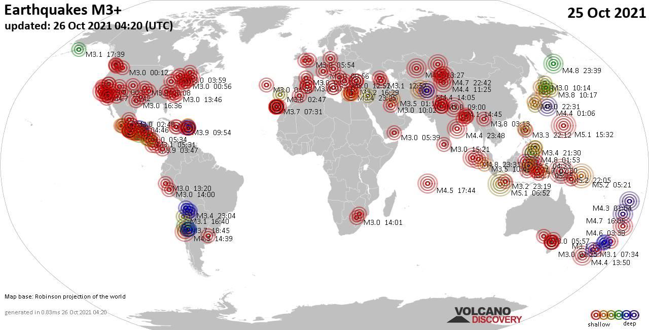 Mapa mundial que muestra terremotos de magnitud 3 en las últimas 24 horas 26 octubre 2021