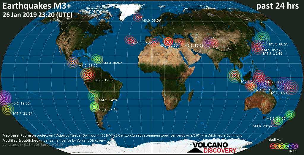 World map showing earthquakes above magnitude 3 during the past 24 hours on 26 Jan 2019