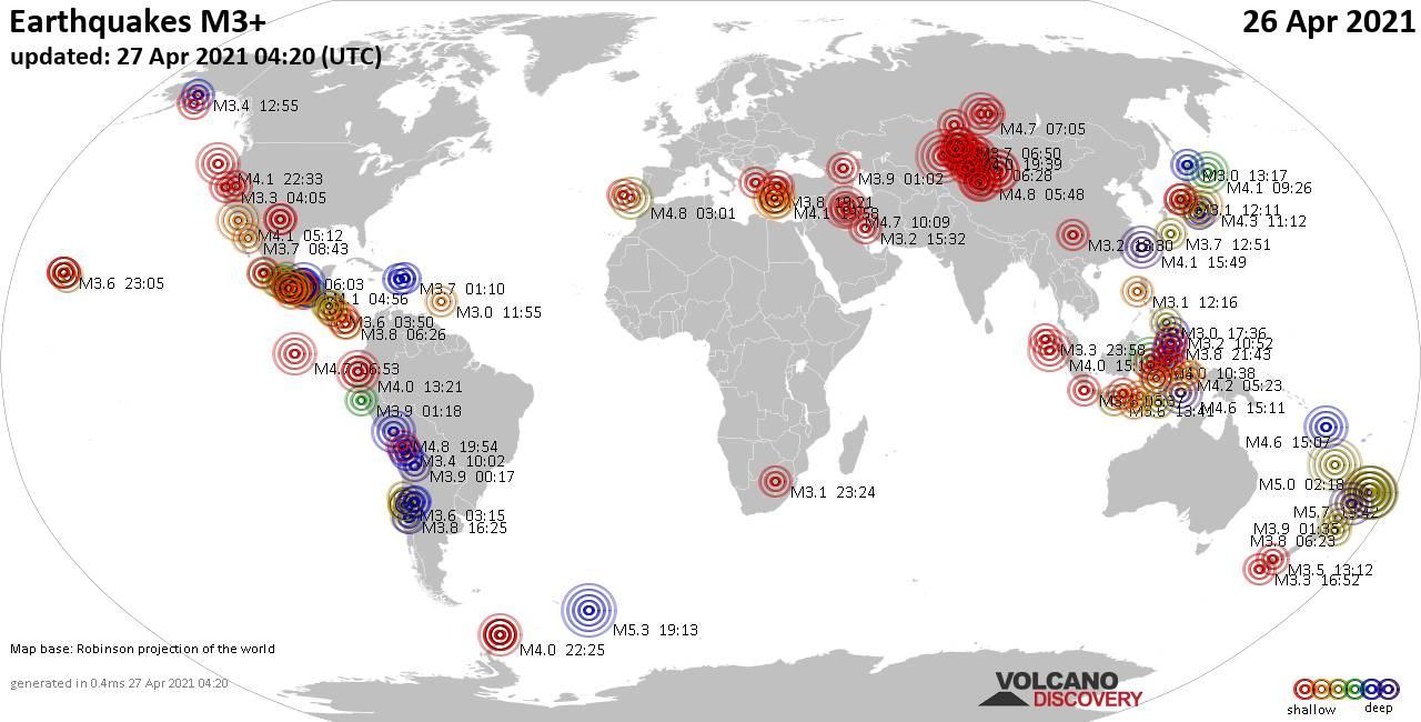 Lebih dari 3 gempa bumi global dalam 24 jam terakhir pada 27 April 2021