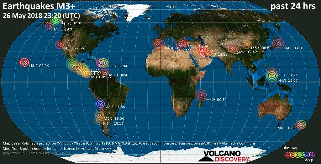 World map showing earthquakes above magnitude 3 during the past 24 hours on 26 May 2018