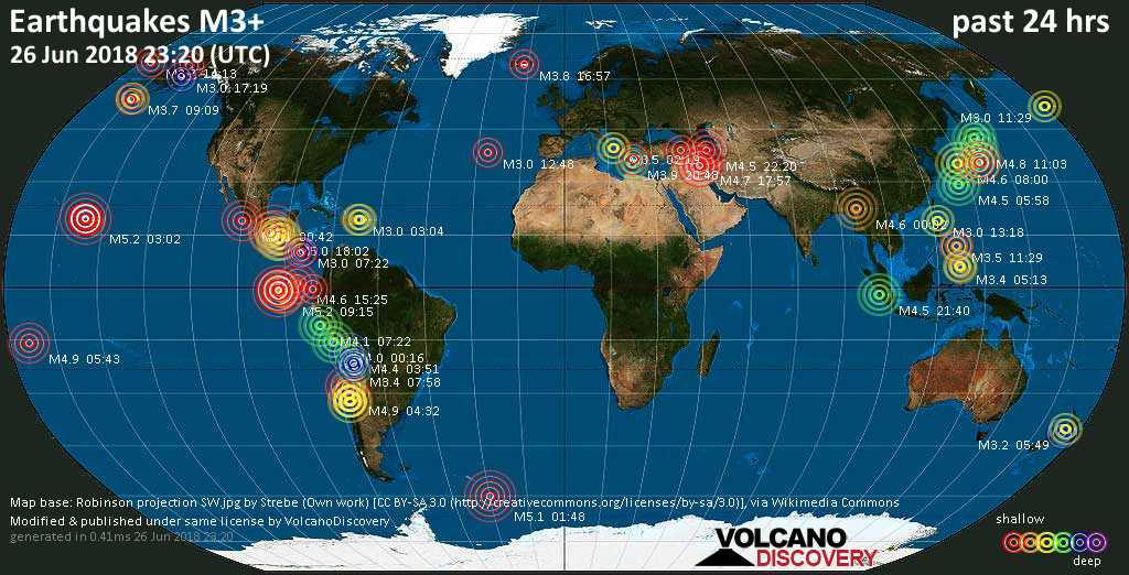 World map showing earthquakes above magnitude 3 during the past 24 hours on 26 Jun 2018