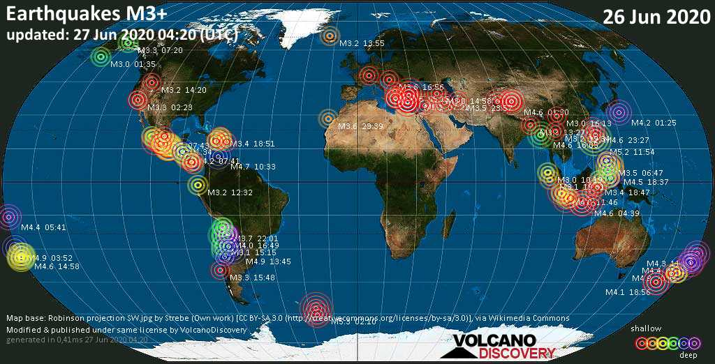 World map showing earthquakes above magnitude 3 during the past 24 hours on 27 Jun 2020