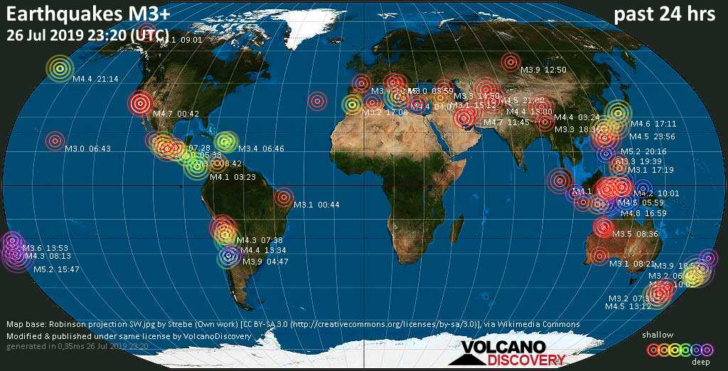 World map showing earthquakes above magnitude 3 during the past 24 hours on 26 Jul 2019