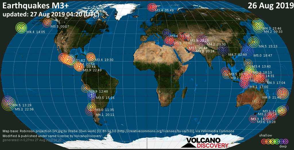 World map showing earthquakes above magnitude 3 during the past 24 hours on 27 Aug 2019