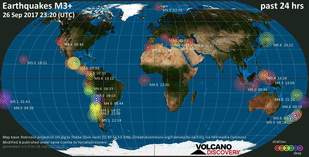 World map showing earthquakes above magnitude 3 during the past 24 hours on 26 Sep 2017