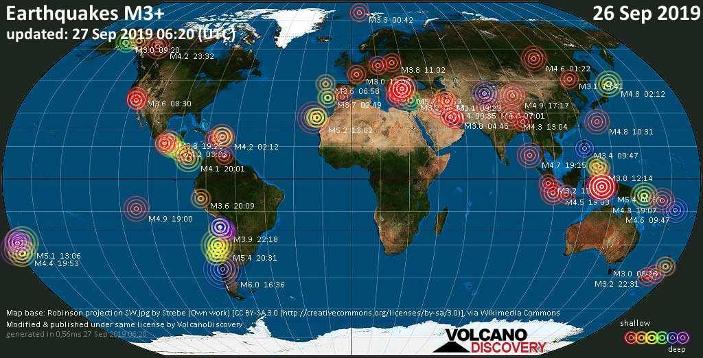 Mapa mundial que muestra terremotos de magnitud 3 en las últimas 24 horas 27 septiembre 2019