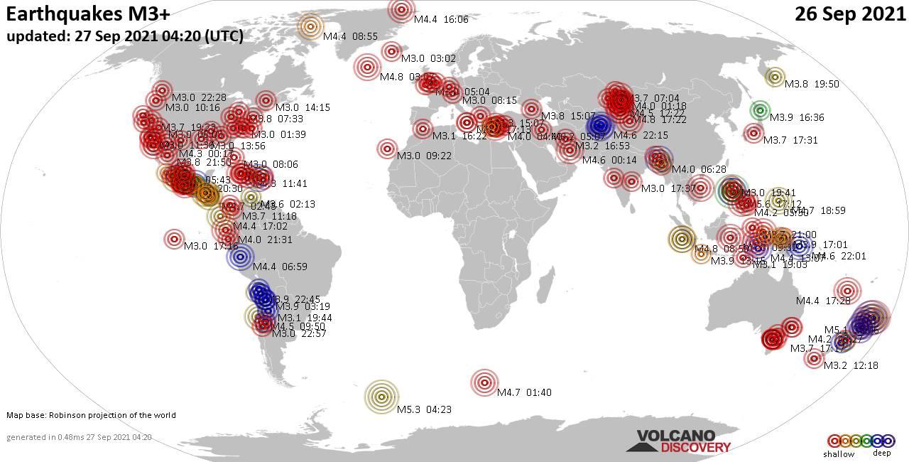 Weltkarte mit Erdbeben über Magnitude 3 während den letzten 24 Stunden past 24 hours am 26. September 2021