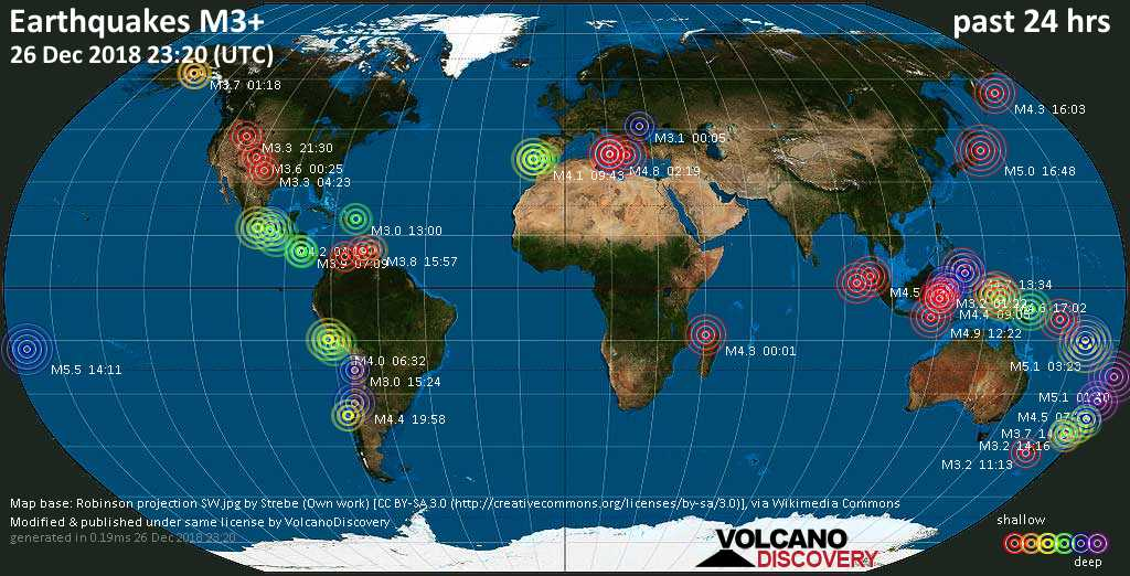 World map showing earthquakes above magnitude 3 during the past 24 hours on 26 Dec 2018