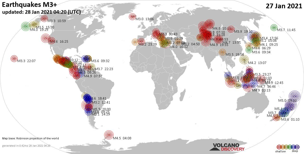 Worldwide earthquakes above magnitude 3 during the past 24 hours on 28 Jan 2021