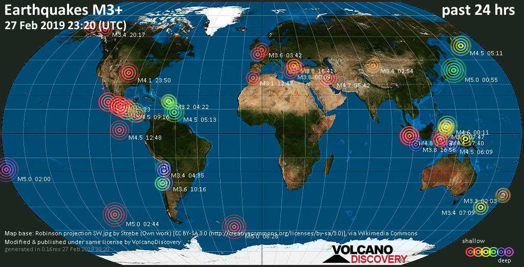 World map showing earthquakes above magnitude 3 during the past 24 hours on 27 Feb 2019
