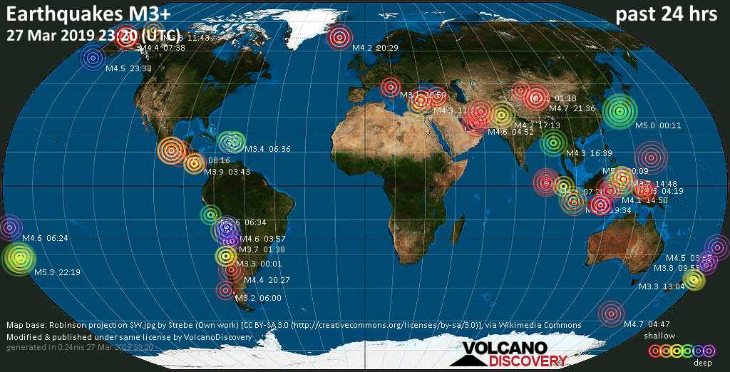 World map showing earthquakes above magnitude 3 during the past 24 hours on 27 Mar 2019