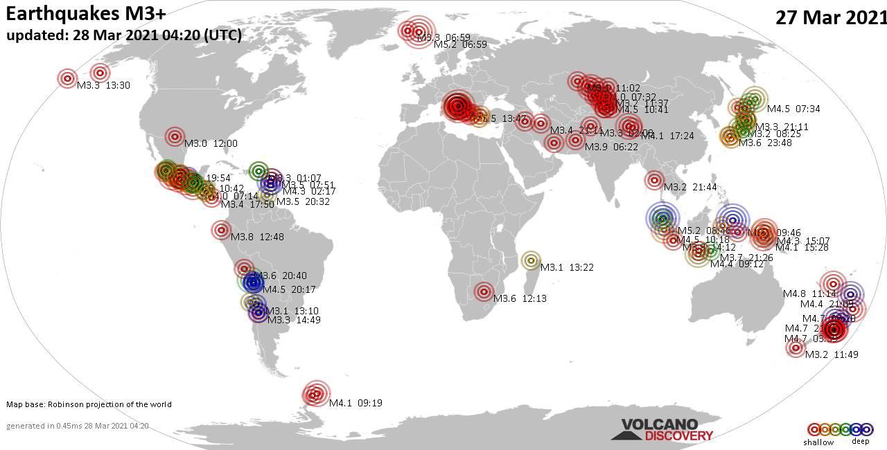 Più di 3 terremoti globali nelle ultime 24 ore il 27 marzo 2021
