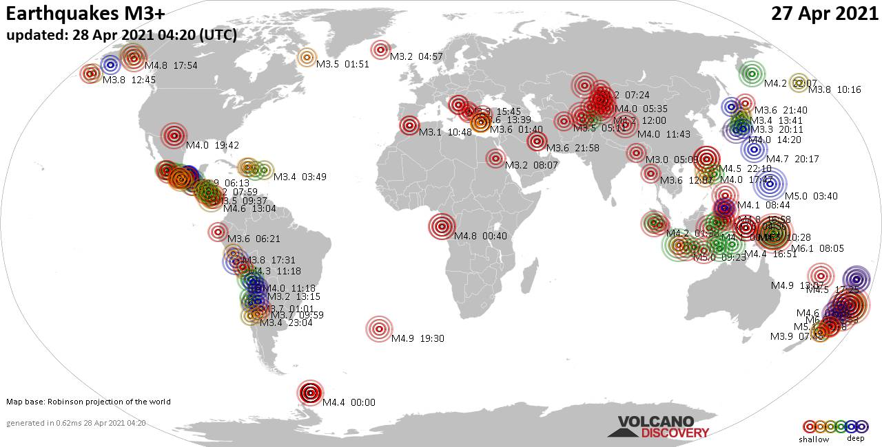 Worldwide earthquakes above magnitude 3 during the past 24 hours on 27 Apr 2021