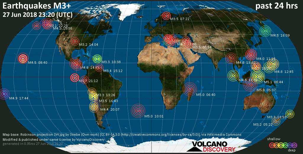 World map showing earthquakes above magnitude 3 during the past 24 hours on 27 Jun 2018