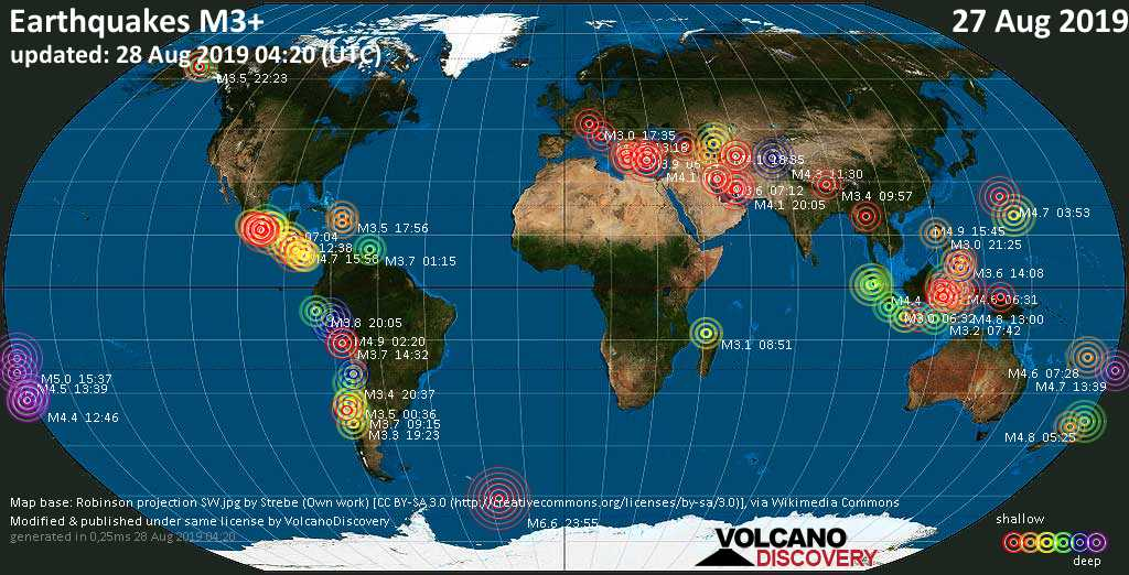 World map showing earthquakes above magnitude 3 during the past 24 hours on 28 Aug 2019