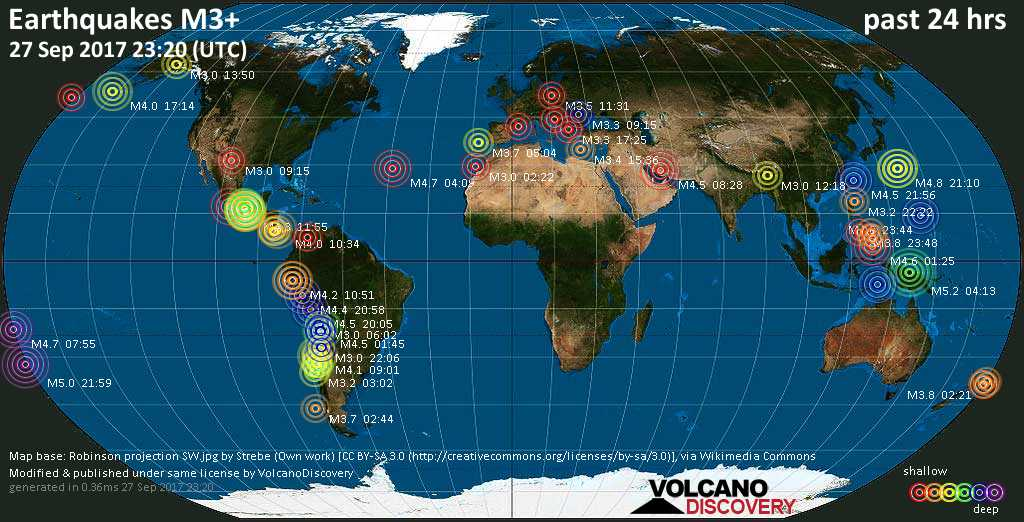 World map showing earthquakes above magnitude 3 during the past 24 hours on 27 Sep 2017