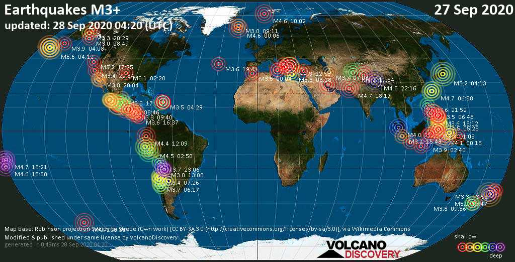 Worldwide earthquakes above magnitude 3 during the past 24 hours on 28 Sep 2020