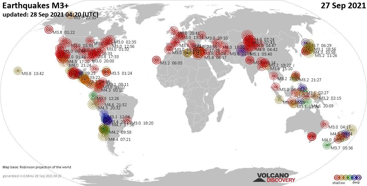 Weltkarte mit Erdbeben über Magnitude 3 während den letzten 24 Stunden past 24 hours am 28. September 2021
