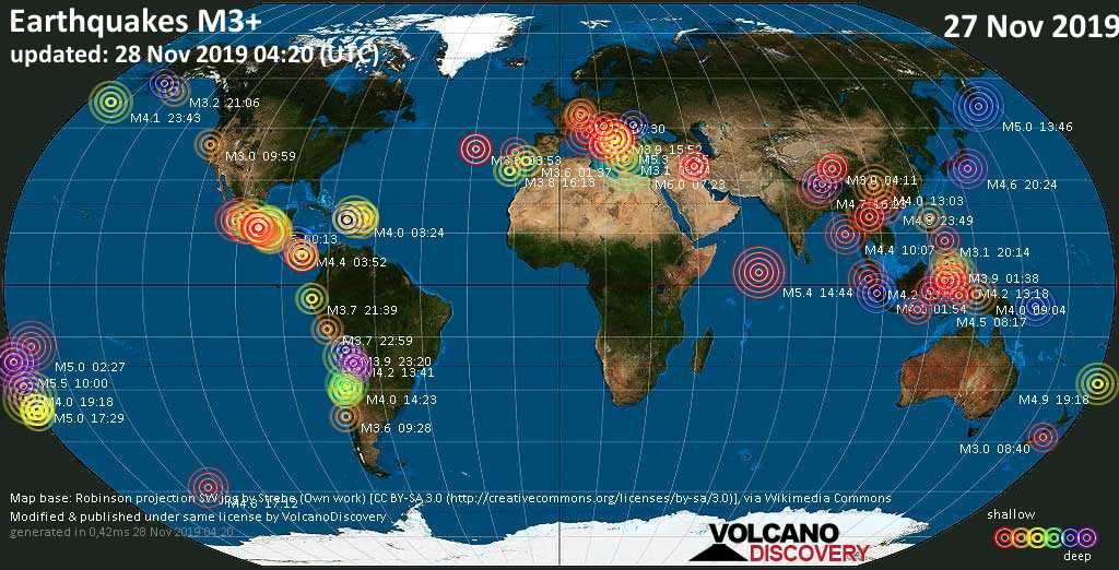 World map showing earthquakes above magnitude 3 during the past 24 hours on 28 Nov 2019