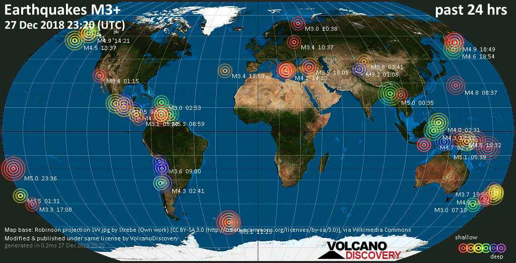 World map showing earthquakes above magnitude 3 during the past 24 hours on 27 Dec 2018