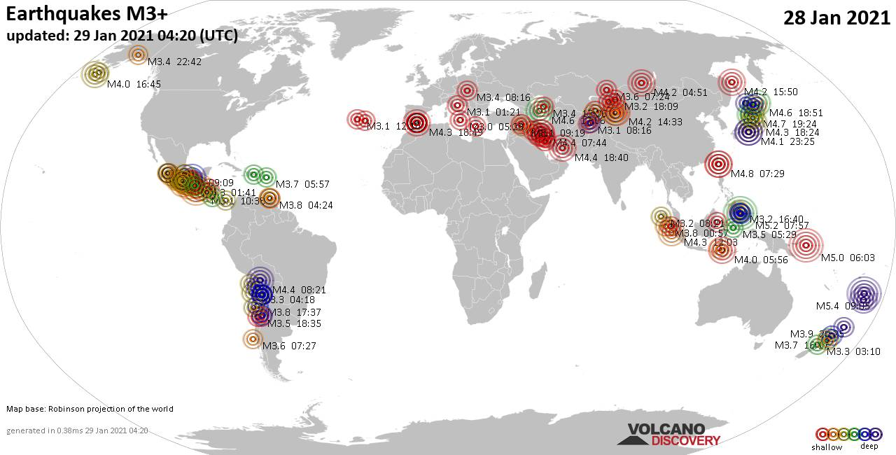 Worldwide earthquakes above magnitude 3 during the past 24 hours on 29 Jan 2021