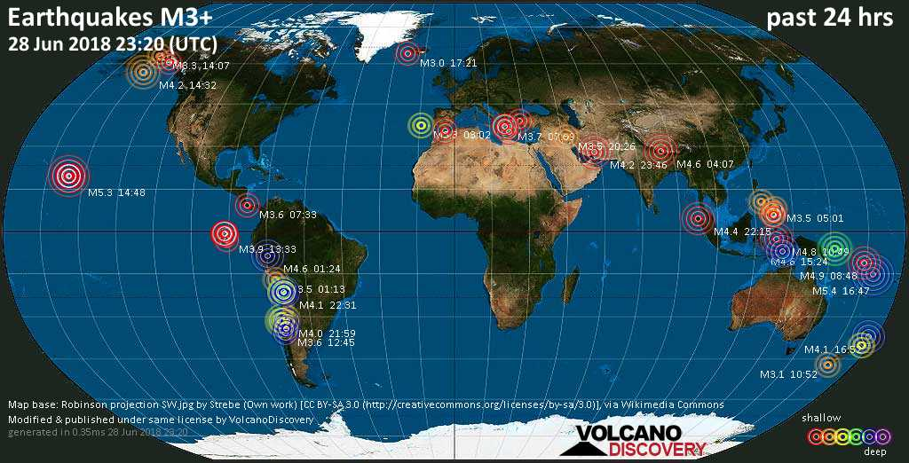 World map showing earthquakes above magnitude 3 during the past 24 hours on 28 Jun 2018