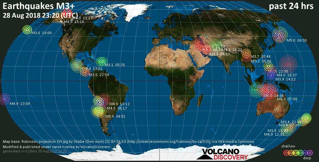 World map showing earthquakes above magnitude 3 during the past 24 hours on 28 Aug 2018