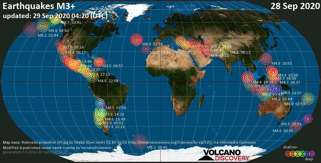 Worldwide earthquakes above magnitude 3 during the past 24 hours on 29 Sep 2020