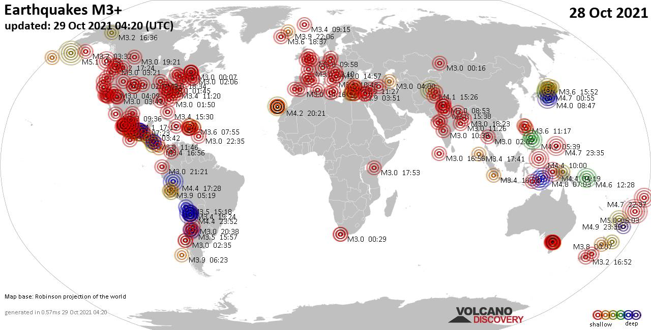 Worldwide earthquakes above magnitude 3 during the past 24 hours on 28 Oct 2021