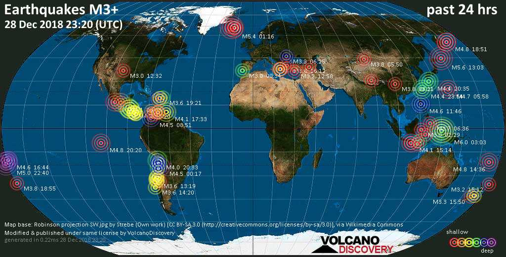 World map showing earthquakes above magnitude 3 during the past 24 hours on 28 Dec 2018
