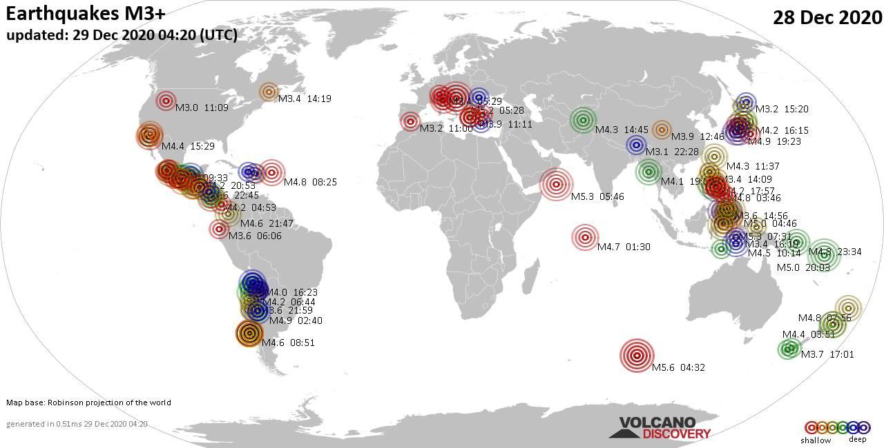 Mapa mundial que muestra terremotos de magnitud 3 en las últimas 24 horas 29 diciembre 2020