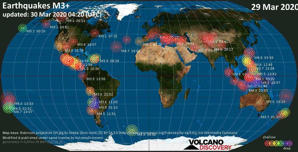 World map showing earthquakes above magnitude 3 during the past 24 hours on 30 Mar 2020