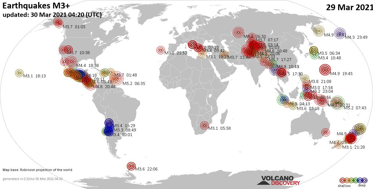 Worldwide earthquakes above magnitude 3 during the past 24 hours on 29 Mar 2021
