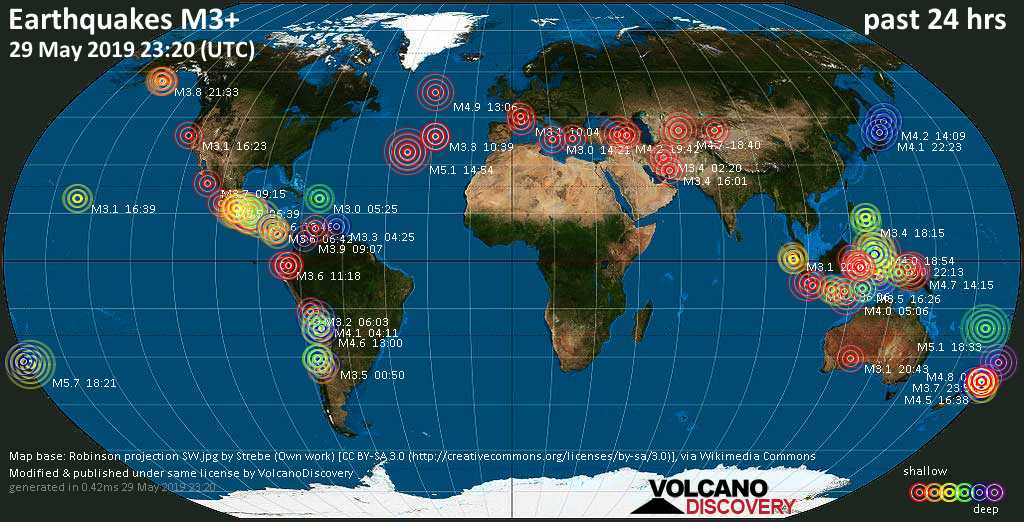 World map showing earthquakes above magnitude 3 during the past 24 hours on 29 May 2019