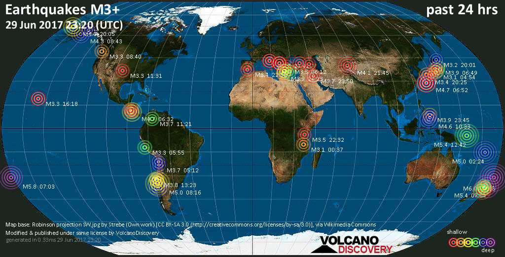 World map showing earthquakes above magnitude 3 during the past 24 hours on 29 Jun 2017