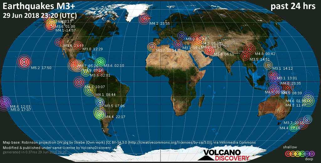 World map showing earthquakes above magnitude 3 during the past 24 hours on 29 Jun 2018