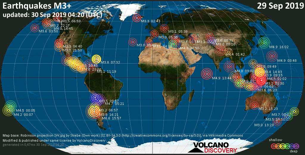 World map showing earthquakes above magnitude 3 during the past 24 hours on 30 Sep 2019