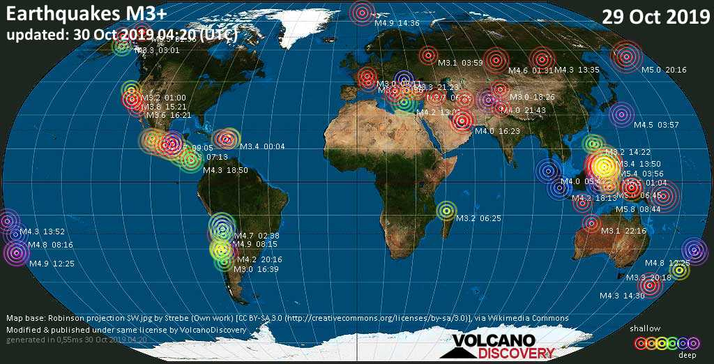 World map showing earthquakes above magnitude 3 during the past 24 hours on 30 Oct 2019