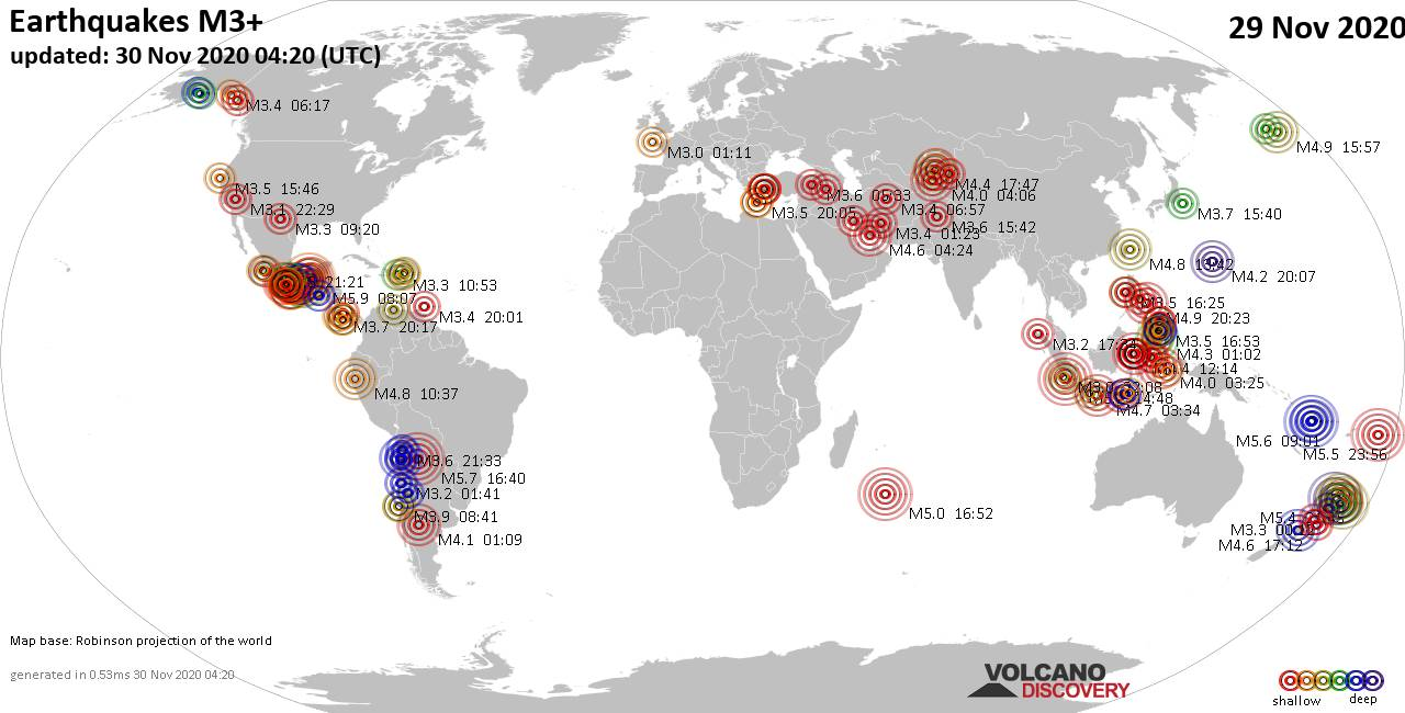 Worldwide earthquakes above magnitude 3 during the past 24 hours on 30 Nov 2020