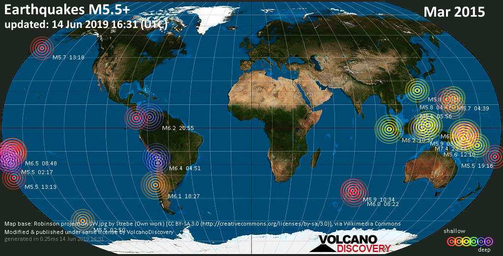 World map showing earthquakes above magnitude 5.5 during March 2015