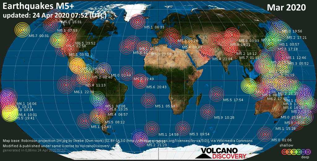 World map showing earthquakes above magnitude 5 during March 2020