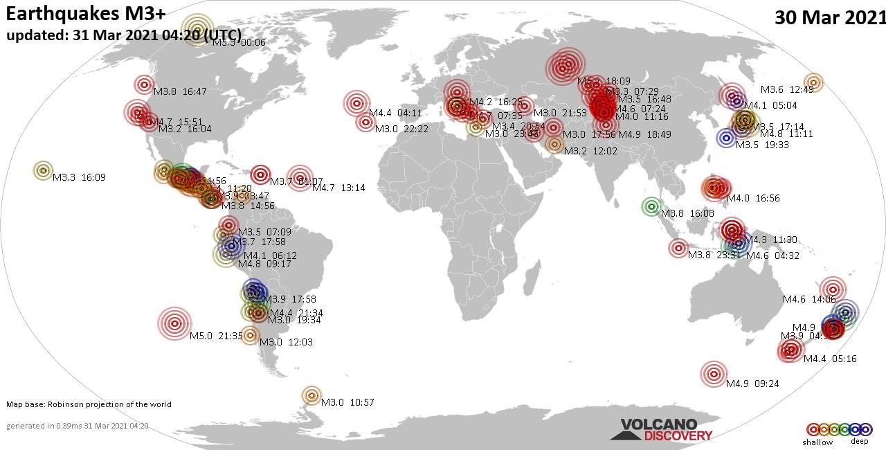 Más de 3 terremotos globales en las últimas 24 horas el 31 de marzo de 2021