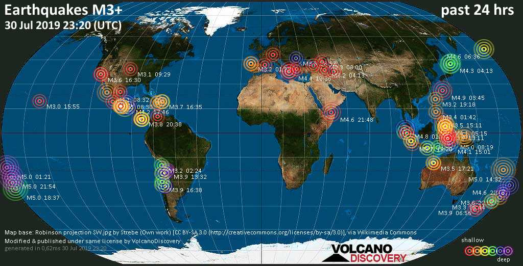 World map showing earthquakes above magnitude 3 during the past 24 hours on 30 Jul 2019
