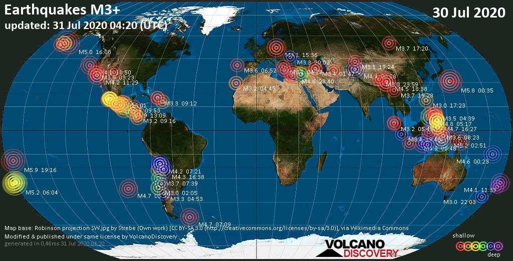 Worldwide earthquakes above magnitude 3 during the past 24 hours on 31 Jul 2020