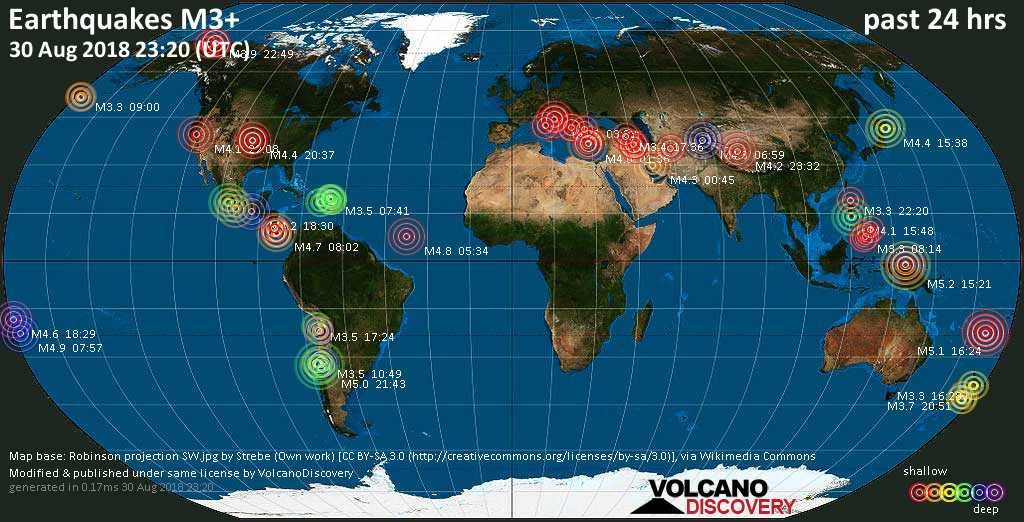 World map showing earthquakes above magnitude 3 during the past 24 hours on 30 Aug 2018